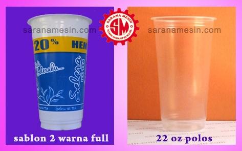 sablon gelas plastik jumbo