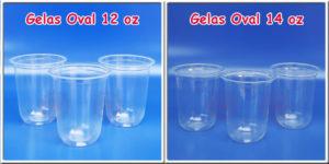 gelas plastik oval 12 oz dan 14 oz